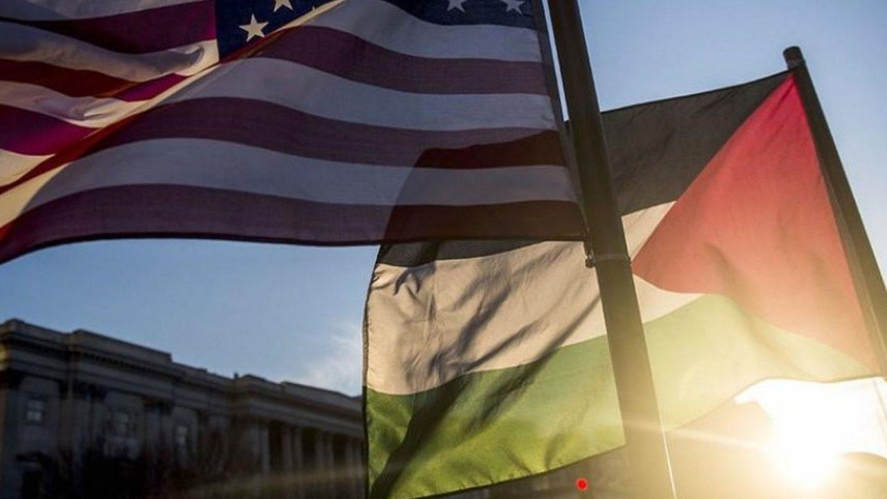 علم فلسطين و الولايات المتحدة الامريكية - تعبيرية