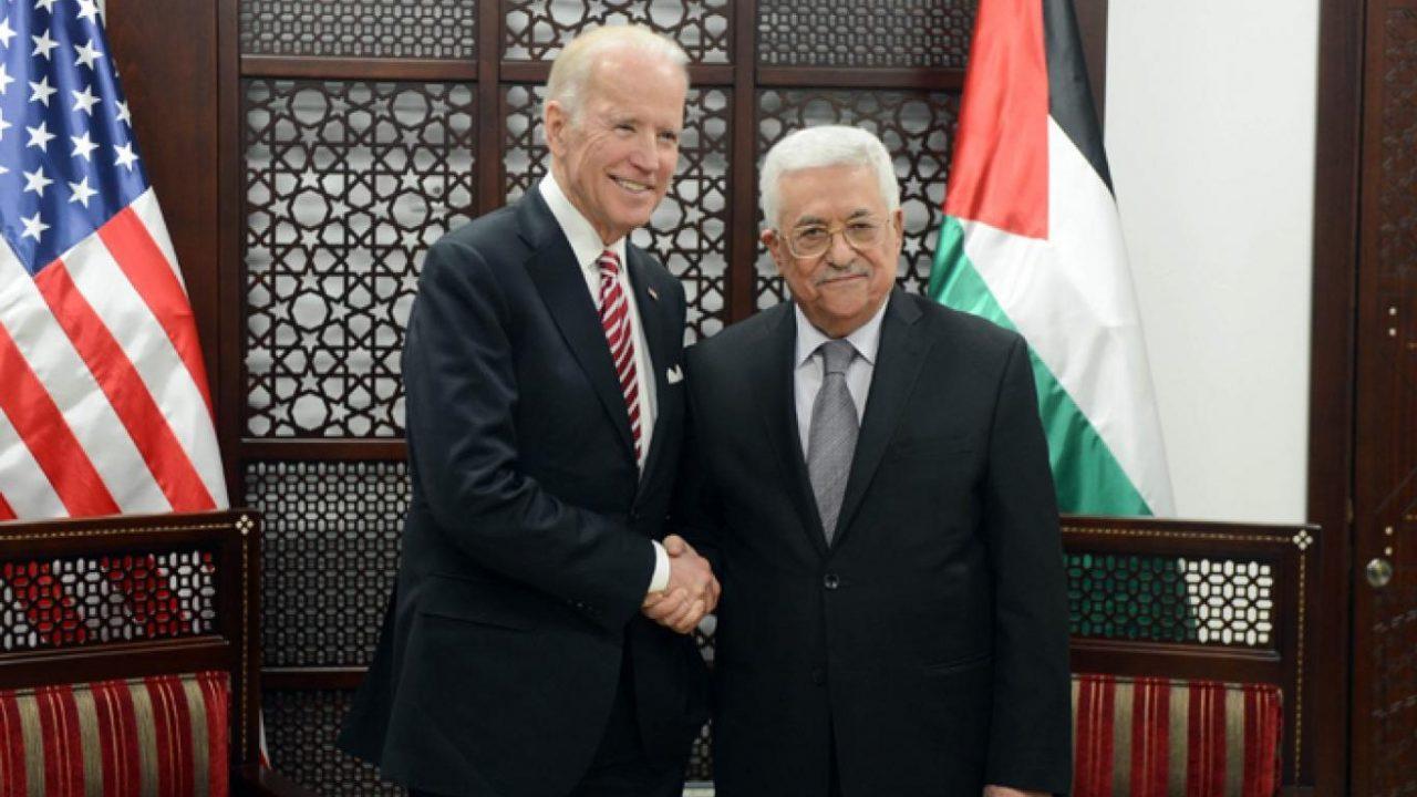 الرئيس الفلسطيني محمود عباس والرئيس الامريكي جون بايدن
