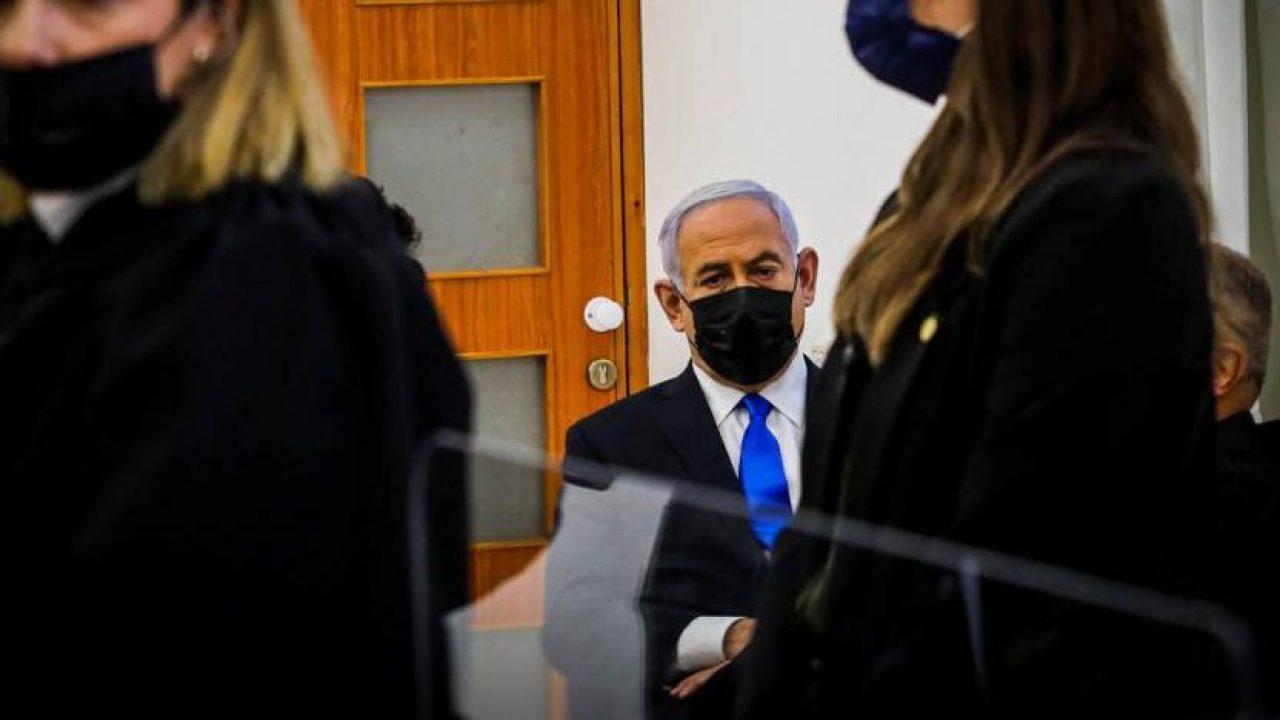نتنياهو خلال محاكمته أمس - نقلا عن هآرتس