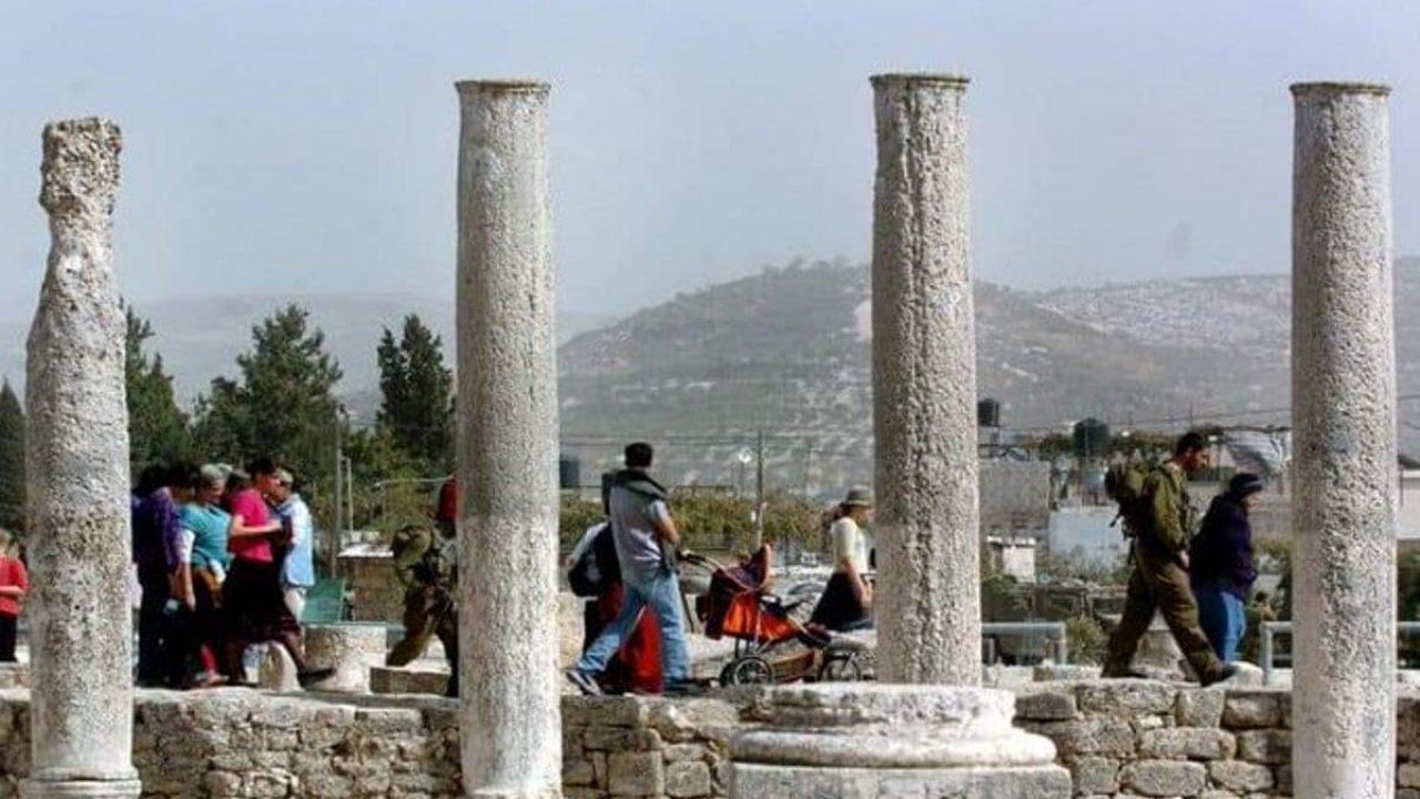 المنطقة الأثرية في بلدة سبسطية شمال نابلس.